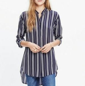 Madewell Navy/White Mulberry Silk Button Down Top
